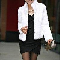 נשים מעיל חורף פו פרווה שחור לבן קצוץ מעיל casacos דה פלה גבירותיי פרווה מעילי פרווה מעיל פרוות ארנב בתוספת גודל XXXL