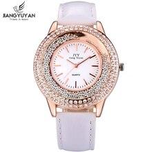 Женщины мода часы из розового золота горный хрусталь кожаный ремешок женские часы аналоговый кварцевые наручные часы час подарок Relogio Feminino