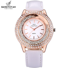 Women Fashion Watches Rose Gold Rhinestone Leather Strap Ladies Watch Analog Quartz Wristwatch Clocks Hour Gift Relogio Feminino