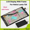 Высокое Качество 4.3 дюймов Полный ЖК с Рамкой лицевой панели + Сенсорный сенсорный экран панели с заменой дигитайзер Для Nokia Lumia 720