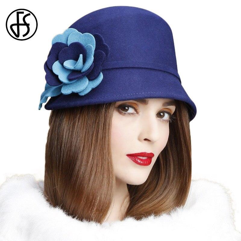 FS England Ladies Wool Navy Blue Hats For Women Vintage Wide Brim Floppy Felt Hat Floral Bowler Fedora Autumn Brown Cloche