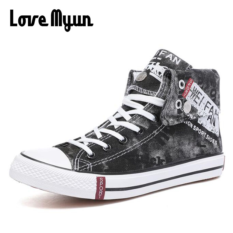 Men Fashion Spring Summer Brand Canvas Shoe  High top  Black White Graffiti / Letter ShoeS Comfortable Casual Sneakers  HH-94