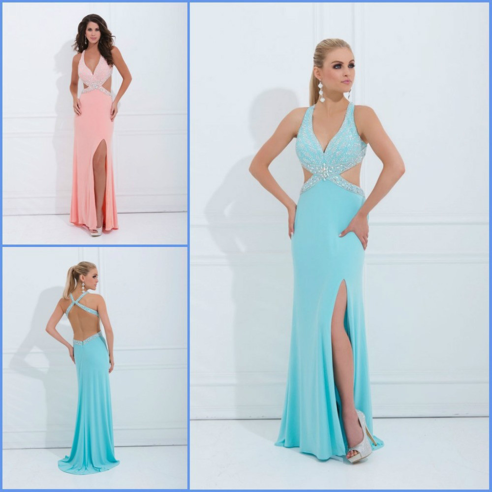 Fashionable V Neck Halter Top Prom Dresses 2014 Open Back Long ...