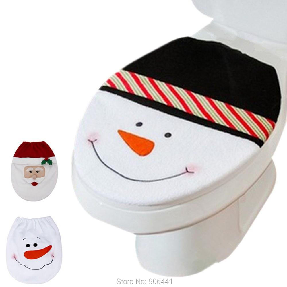 3 Style Choice 1 Pc Snowman Toilet Seat Cover Cute Bathroom Toilet Lid New Year Xmas Christmas Decoration