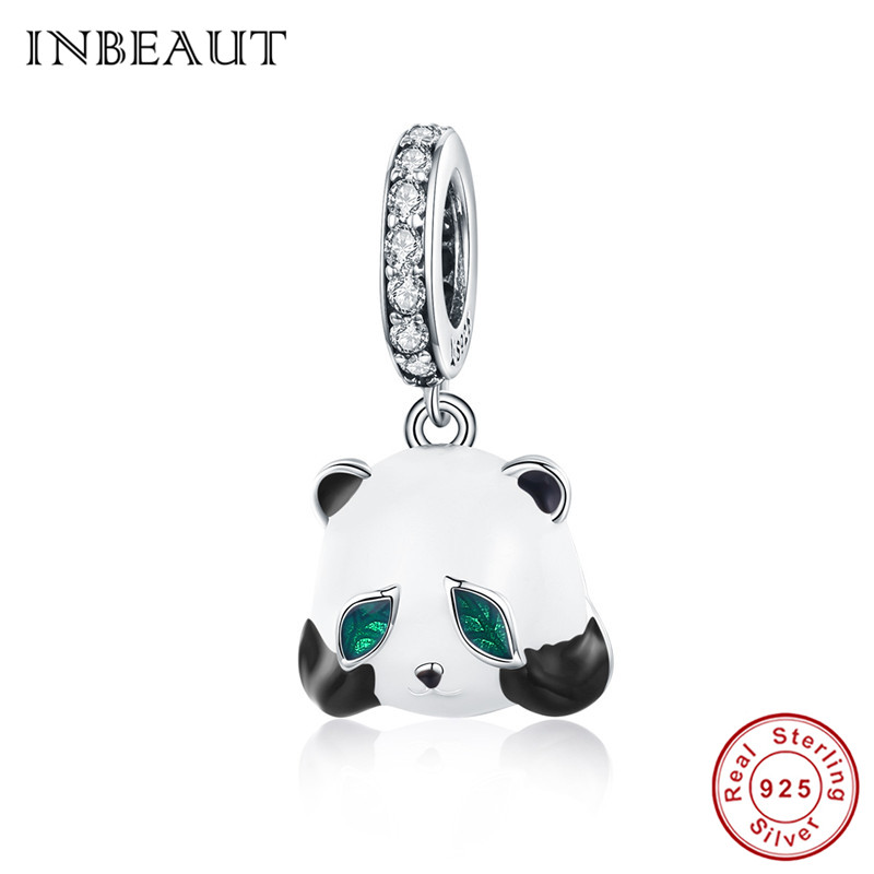 Charms Inbeaut 100% 925 Sterling Silver Cute Green Eye Baby Panda Pendant Beads National Treasure Animal Charm Fit Pandora Bracelet Up-To-Date Styling Jewelry Sets & More