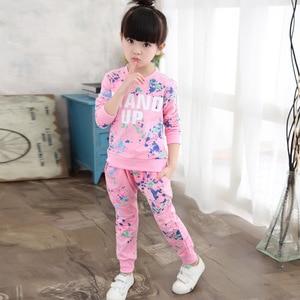 Image 2 - ילדי בגדי סתיו אביב בנות בגדי סט תלבושת ילדים בגדי ילדה חליפת ספורט ילדה בגדי סטי 3T 14TYear