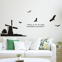 DCTAL Large Windmill Birds Wall Stickers Wall Decor Wall Covering Home Decor Decal