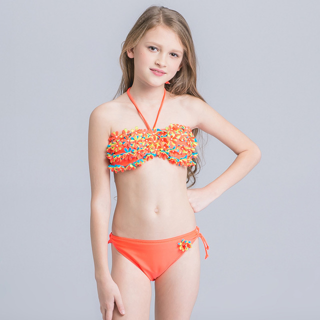 d208bbea15 Handmade Floral Bikini Girls Two Piece Children Swimwear 2017 Kids Swimsuit  Biquini Infantil Cute Halter Beachwear 3-16 Years