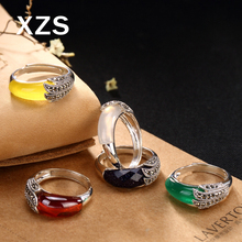 100% Genuine S925 Sterling Silver Chinese Style Hand Made Gem Vintage Rings Women Luxury Valentines Day Gift Jewelry JZCN-18005