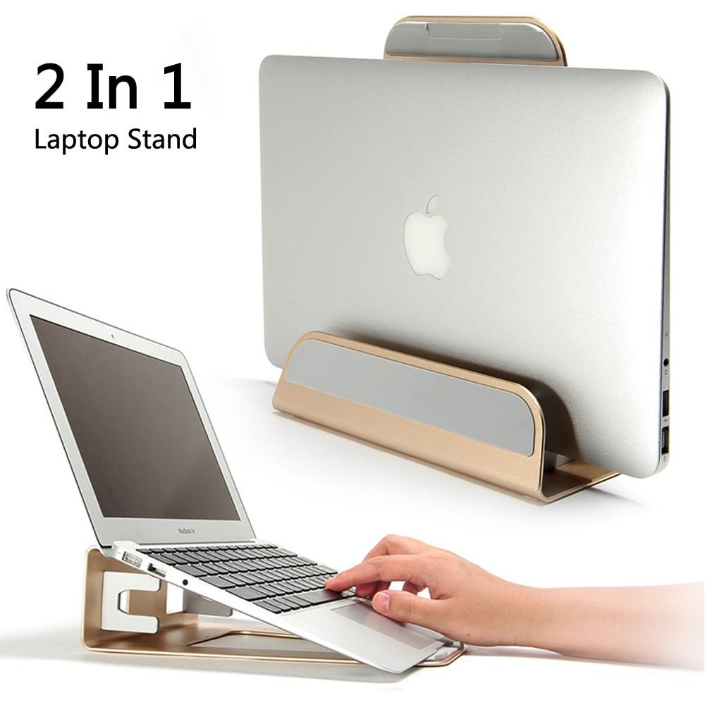 2 en 1 fonction Base de support Vertical en alliage d'aluminium/support d'ordinateur portable ergonomique refroidissement pour Macbook Air Pro Retina 11 12 13 15 pouces