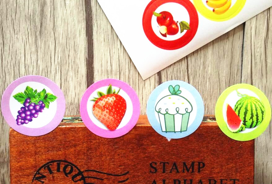 160PCS/Lot  Funny Students' DIY label Delicious Fruit seal Sticker for baking Handmade Products Round Gift sealing sticker