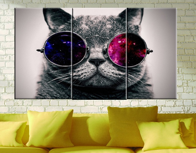 Vytisknout plakátové plátno Nástěnné umění Roztomilá kočka s brýlemi cuadros Dekorace olejomalba Modulární obrázky na plátně (bez rámečku) 3ks