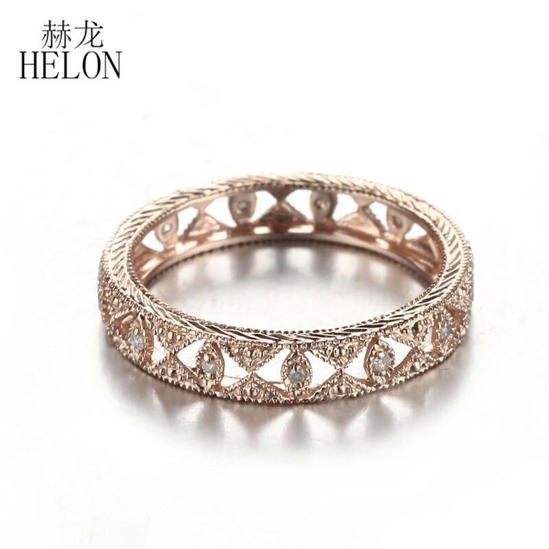 HELON Real 10K oro rosa pavé 0.1ct diamante Natural genuino compromiso boda eternidad completa Art Deco joyería antigua de las mujeres anillo-in Anillos from Joyería y accesorios    2