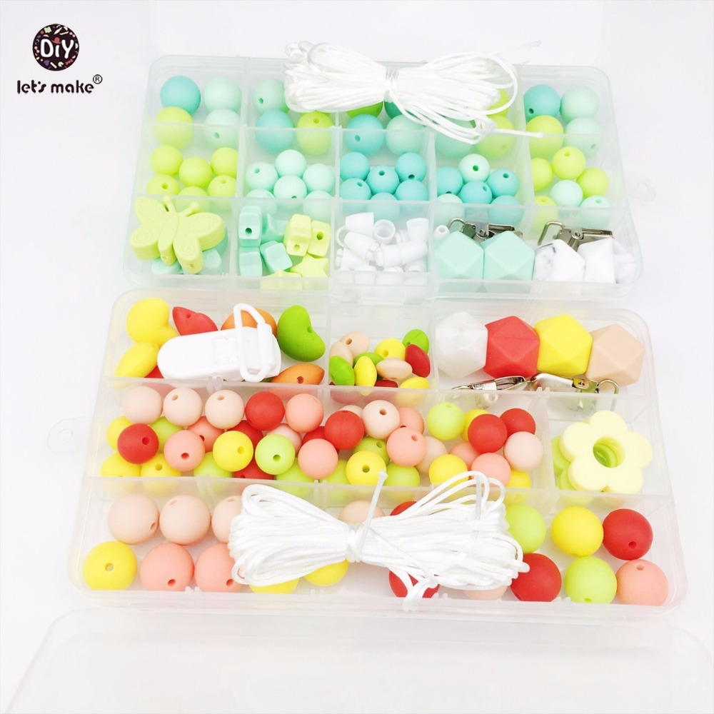 Lets Make Colorful Silicone Beads Sets DIY Pacifier Clip Teething Necklace Beads Bracelet Made Accessories Beads Baby Teether