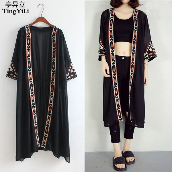 TingYiLi Black White Kimono Cardigan Women Embroidery Long ...