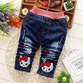 Outono/Inverno Do Bebê calça jeans Meninas Miúdos Dos Desenhos Animados Calças Casuais Coreano Moda Infantil Quentes Calças Grossas