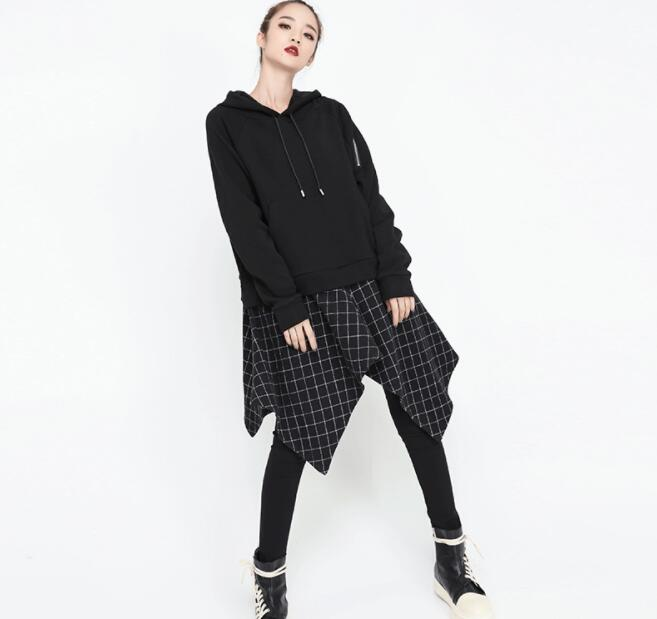 Nuevo invierno Falso Rebeca Camiseta Costura Piezas Europa Capucha Negro Comodidad Suelta Otoño Con Dos 2018 pwq41taU