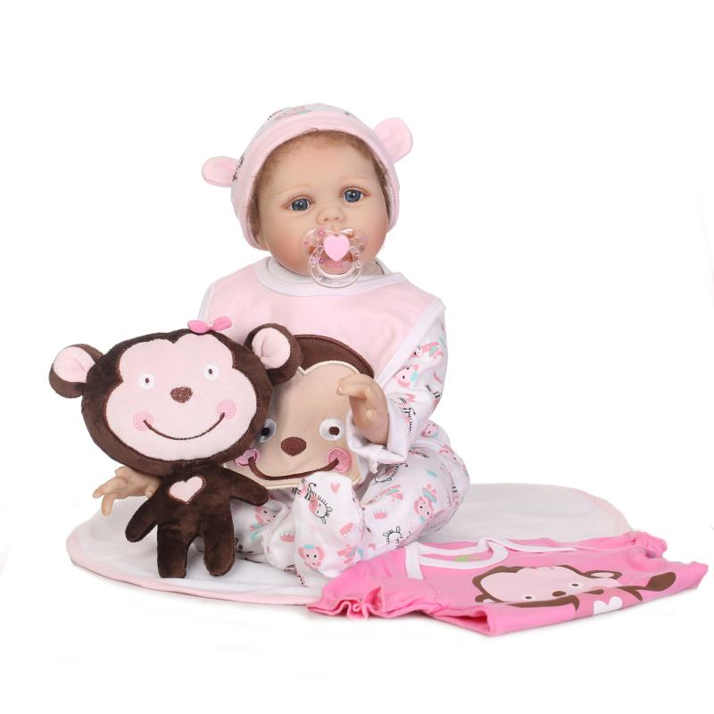 2018 new arrivals 22'' Soft vinyl Silicone Baby Doll reborn 55cm with Magnet pacifier cute monkey plush toys for Girls mini doll 2018 new arrivals 22 soft vinyl silicone baby doll reborn 55cm with magnet pacifier cute monkey plush toys for girls mini doll