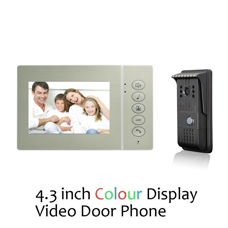 (1 ensemble) système d'interphone à domicile un à un écran de 4.3 pouces interphone vidéo interphone version nocturne sonnette porte arrière accès