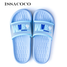 ISSACOCO Womens Slippers Summer Flat Shoes Beach Solid Color Home Couple Pantuflas Chinelos
