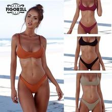 2018 Women Bikini Set Sexy Brazilian Bikini Solid Swimwear Low Waist Thong Bikini Bathing Suit Beach Wear maillot de bain