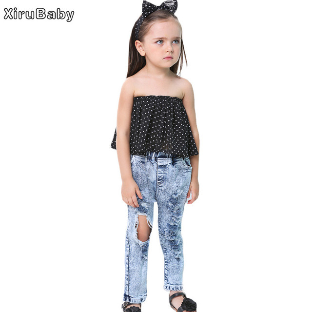 746e96e1dfb0 Xirubaby Summer Kids Girl Clothes Girls Clothing Sets Dot Off Shoulder  Blouse+Ripped Jeans+Hair Band 3Pcs Suit Children Clothing