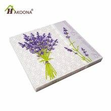HAKOONA 3 Bags 60 PCS Purple Lavender Disposable Paper Napkins Square Tissue Hotel Wedding Birthday Party Decoration