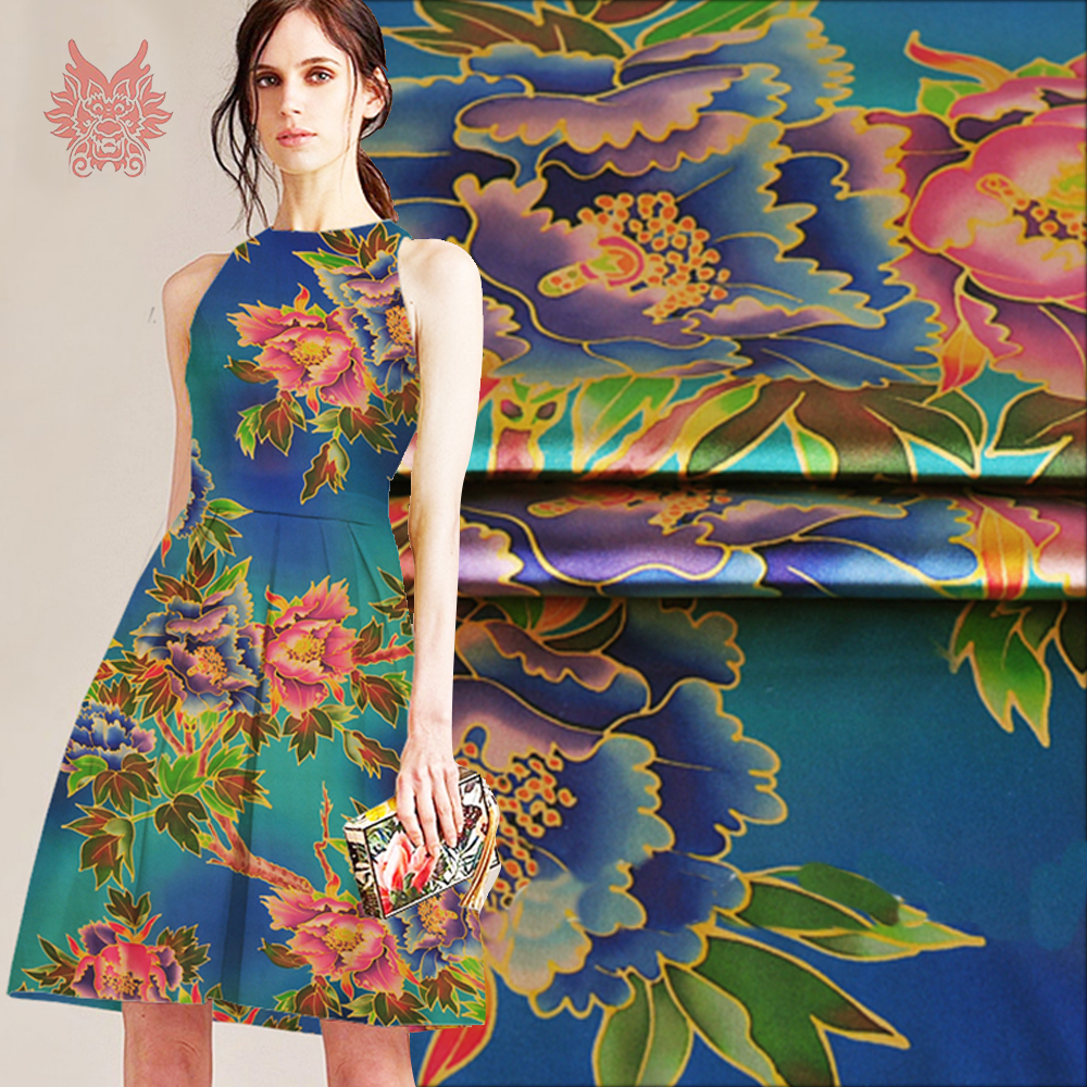 American Style Luxury Floral Print Spandex Silk Fabric For