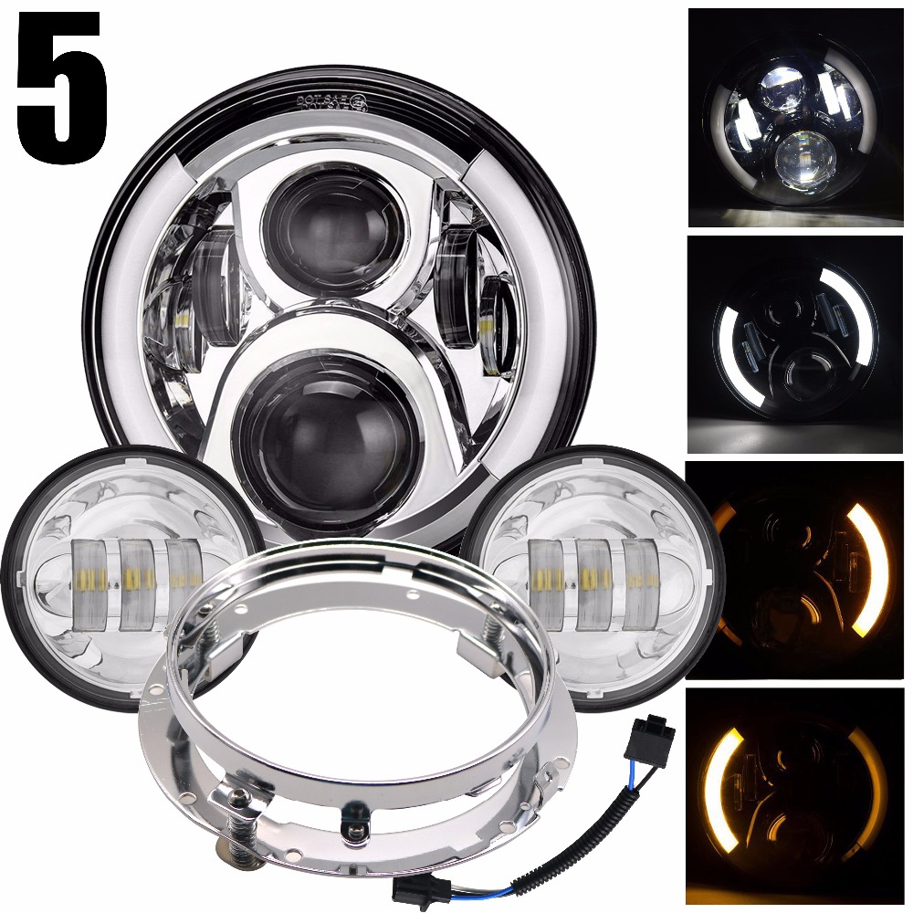 HJYUENG 60w 7Inch LED Headlight Daymaker Replacement LED Hi/lo Beam 4.5Inch Led Fog Lights For Fat Boy Softail Heritage Touring