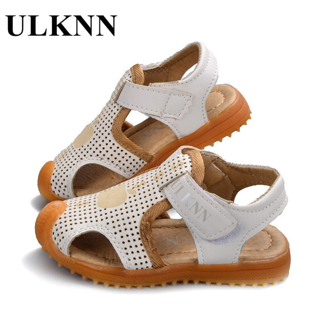 Ulknn Shoes For Children Soft Leather Kids Sandals Baby Beach Closed Toe Toddler Boys
