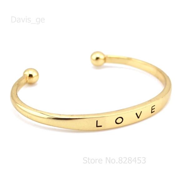 5 Minimum Fashion Gold Tone Love Words Cuff Bracelet 2 4 Bangle Rdr Whole