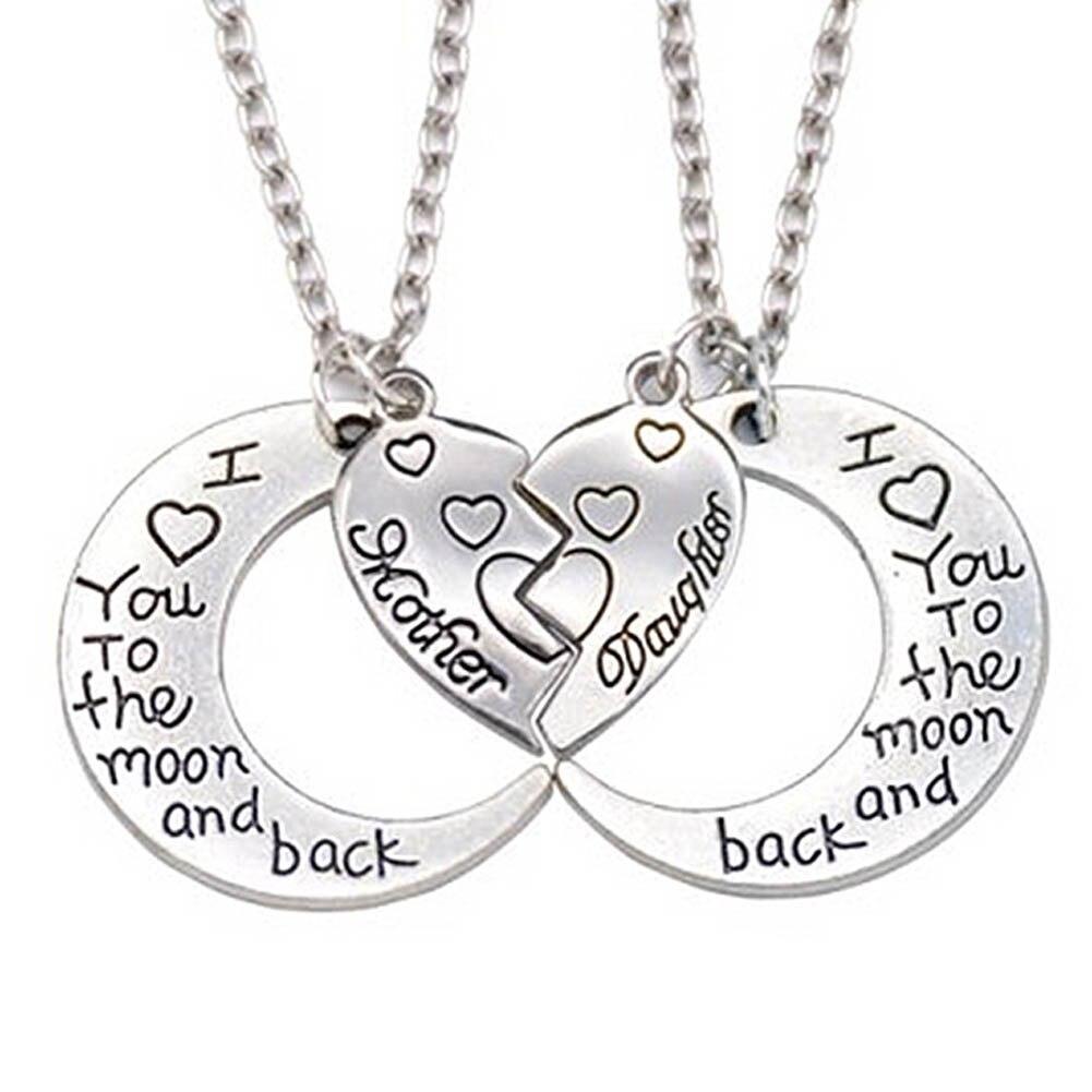Ожерелье с подвеской, 2 полусердца, 2 части, ожерелье с сердечком для мамы и дочки, ожерелье с надписью «I Love You To The Moon And Back»