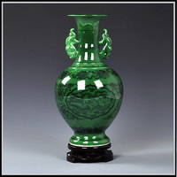 Antique Chinese jade color glazed porcelain flower vases with qing qianlong year mark