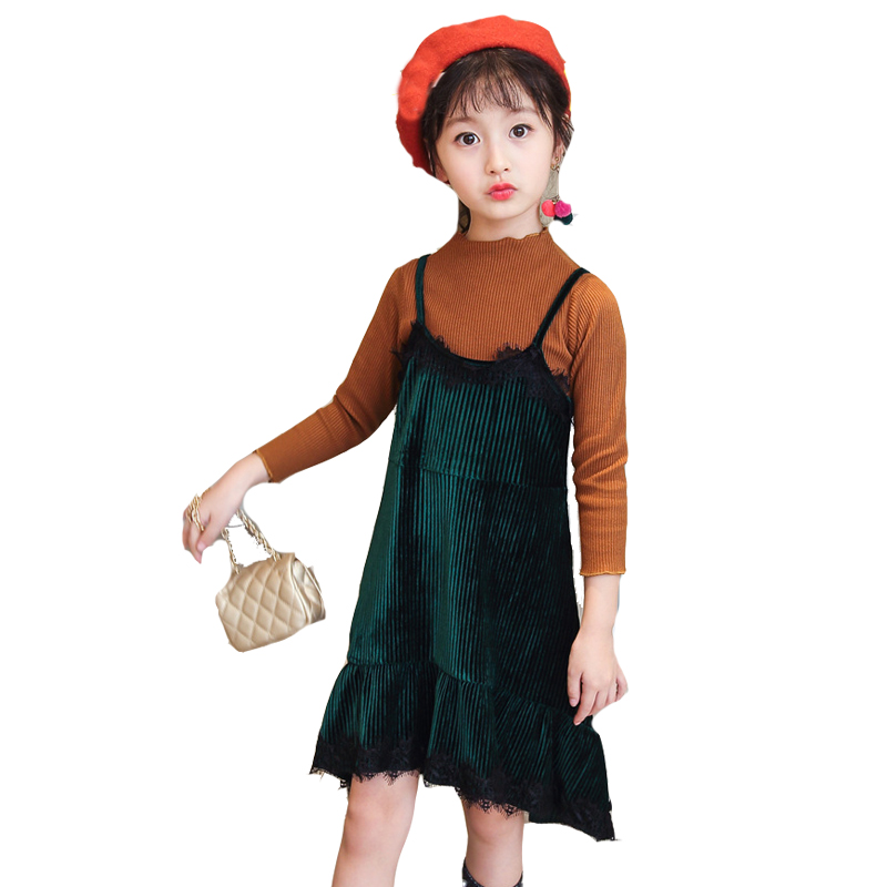 Girls Clothing Sets Cotton T-Shirts & Overalls 2Pcs Autumn Children Outerwear Long Sleeve Tees Girls Dresses 2 4 6 8 10 12 Years