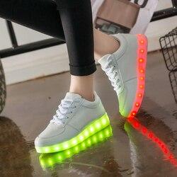 Carregador USB Incandescência Luminosos Tênis Feminino Cestas com Crianças de Luz Led para o Menino & Menina Iluminar Sapatos 2539