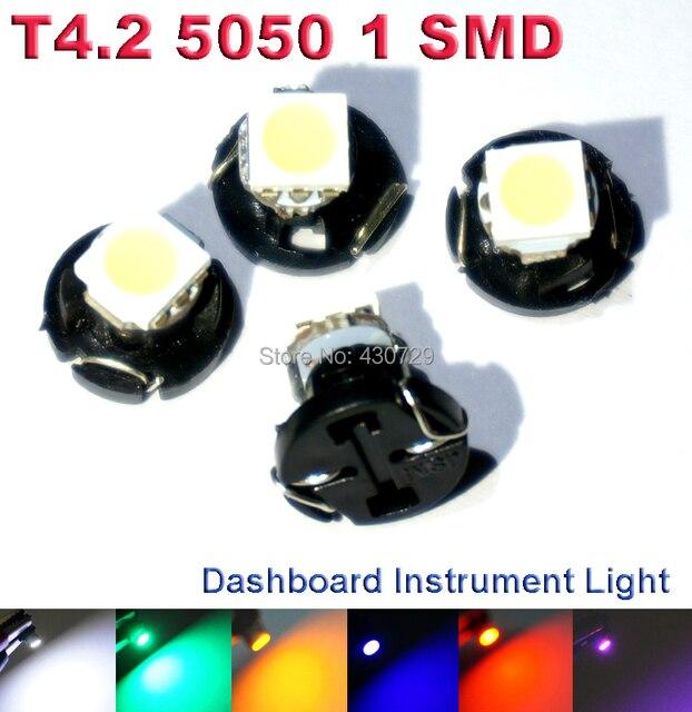 6X T4.2 светодиодный 5050 SMD автомобилей приборы свет авто панель свет лампы тире кластера луковицы для автомобиля DC 12 В белый цвет красный, желтый синий зеленый