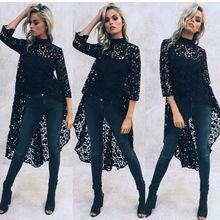 B lusas Femininas 2016ใหม่แฟชั่นสตรีoคอฤดูร้อนเสื้อชีฟองสีดำลูกไม้เสื้อเสื้อลำลองผู้หญิงTops B Lusa