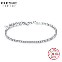 ELESHE 925 Sterling Silver Tennis Charm Bracelets For Women With Cubic Zirconia Link Chain Anti Allergy