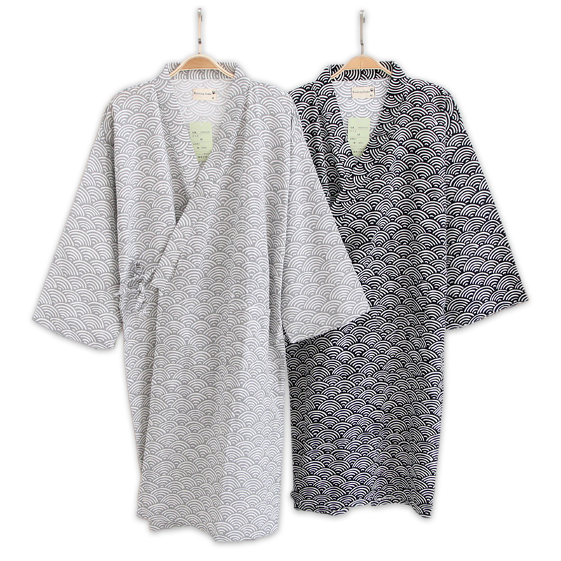 Male Simple Japanese Kimono Robes Men Summer Long Sleeved 100% Cotton Bathrobe Fashion Casual Robe Dressing Gown Men Bathrobes