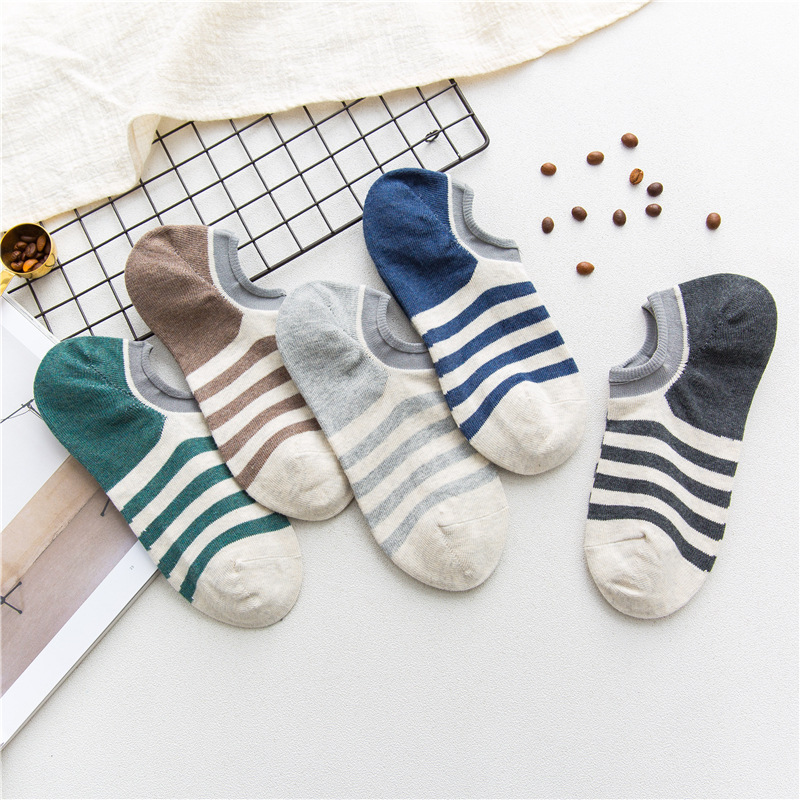 2018 men socks 5 pairs cotton short invisible socks summer striped cotton breathable style high quality mens socks ankle socks