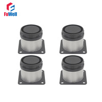 4pcs 50mm Height Adjustable 15mm Cabinet Feet Silver Tone Stainless Steel Table Bed Sofa Leveling Foot