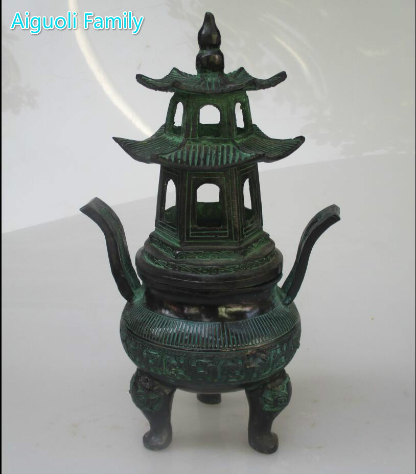 Art collection  Chinese Old  Bronze Handmade Carved Tower incense burner/Home Decorated Metal Censer Free ShippingArt collection  Chinese Old  Bronze Handmade Carved Tower incense burner/Home Decorated Metal Censer Free Shipping