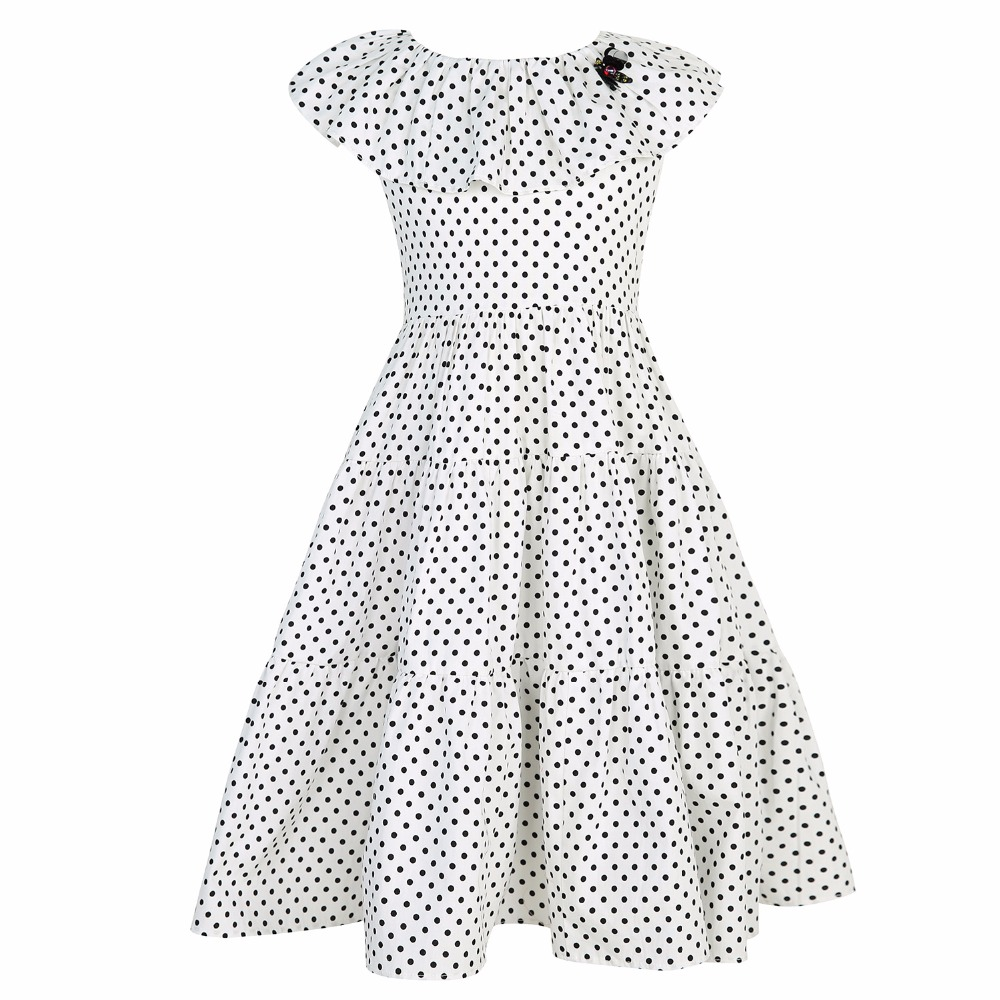 Girl Dress Summer Robe Fillette 2017 Brand Princess Dress Children Beading Polka Dot Kids Dresses for Girls Clothes polka dot slit hem contrast dress