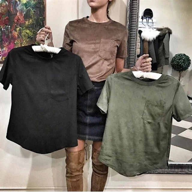 TAOVK 2017 new fashion Russian style Ladies Tops Suede heads t-shirt