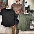 TAOVK 2017 nova moda estilo Russo Partes Superiores Das Senhoras Camurça heads t-shirt