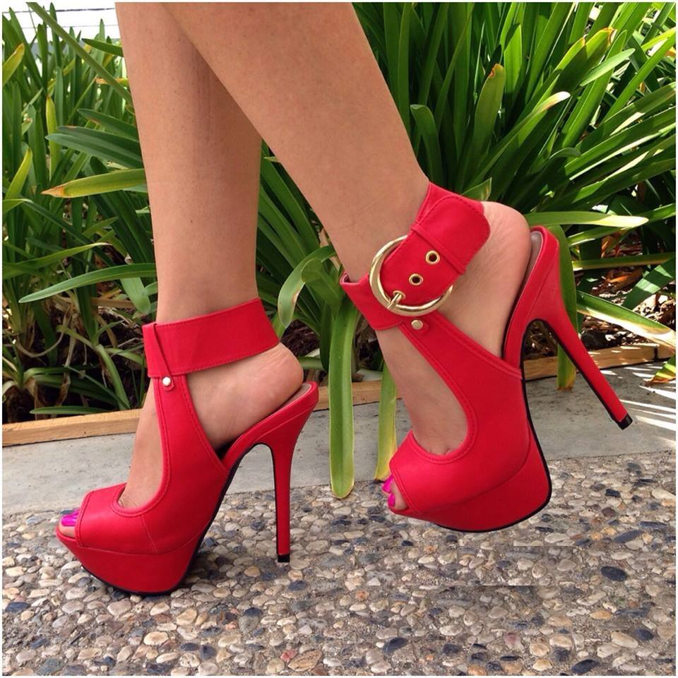 ФОТО High heels female shoes restoring ancient ways is a word buckle belt fish mouth shoes comfortable high-heeled waterproof single