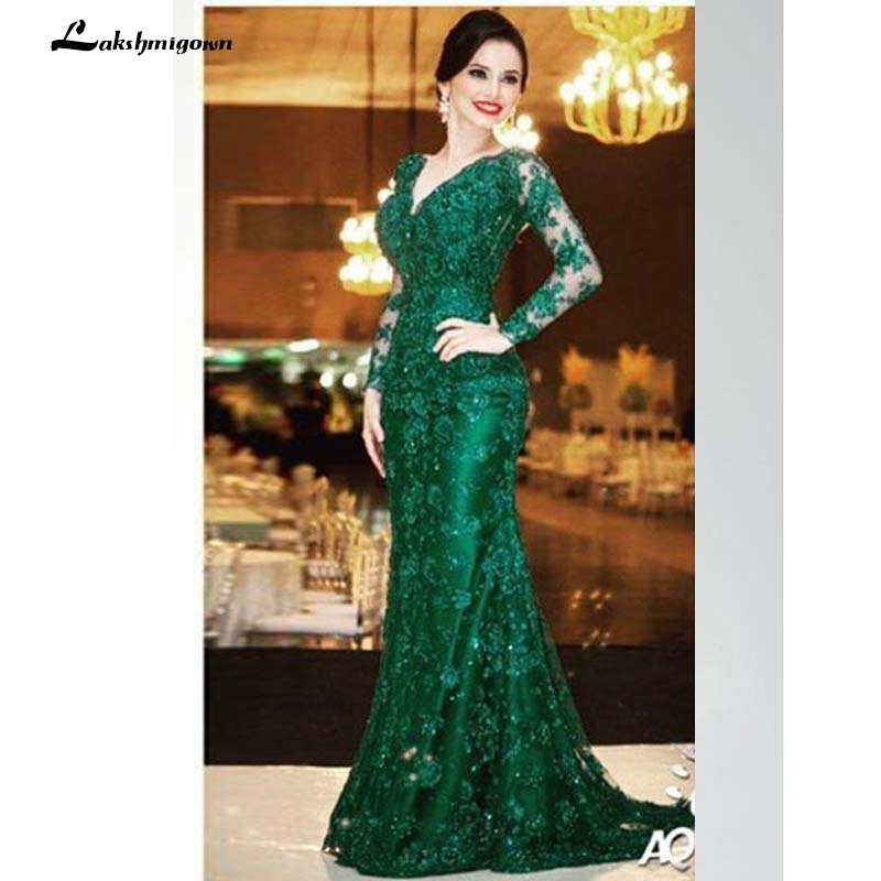 Mother of the Bride Dresses for Wedding Guest Gowns Long Sleeve Green Lace V Neck Sexy Backless 2018 Women Evening Dresses Forma