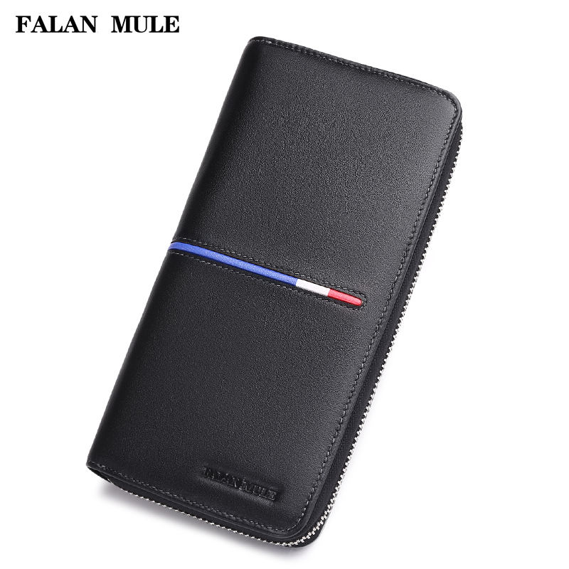 FALAN MULE fashion new men wallets genuine leather purse brand business male long zipper wallet clutch long wallets for business men luxurious 100% cowhide genuine leather vintage fashion zipper men clutch purses 2017 new arrivals