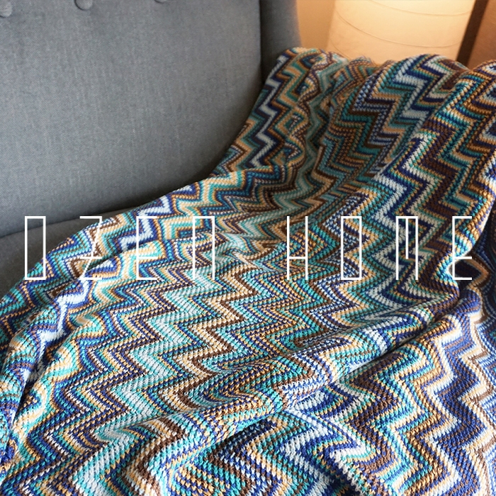 Bohemian Indian Knitted Blanket Decorative Carpet Ethnic Sand And