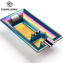 2019new Rainbow Color Stainless Steel Ashtray Press Rotary Portable Ash Tray Metal CL-108